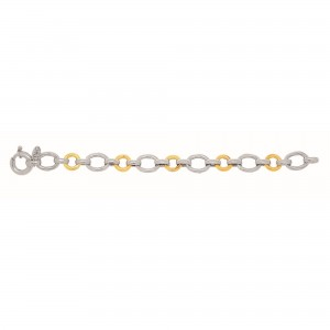 Silver And 18Kt Gold Textured Italian Cable Bracelet With Round And Oval Links And Spring Ring Clasp