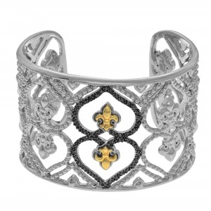 Silver And 18Kt Gold 40Mm Fleur De Lis Pattern Cuff Bangle With .50Ct Black Diamond