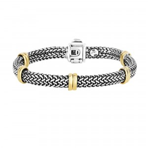 18Kt Gold And Silver 7Mm 5 Station Element On Tuscan Woven Bracelet