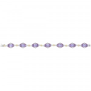 Silver And 18Kt Gold Gem Candy Marquis Bracelet With P Ink Amethyst, Rhodalite And White Sapphire