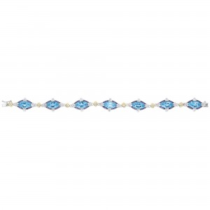 Silver And 18Kt Gold Gem Candy Marquis Bracelet With Blue Topaz, Iolite And White Sapphire