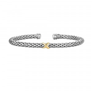 Silver And 18Kt Gold Popcorn Inxin Bangle
