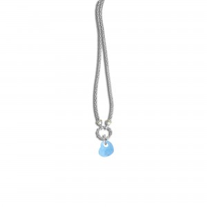 Silver And 18Kt Gold Popcorn Necklace With Heart-Shapedmilky Aquamarine Pendant