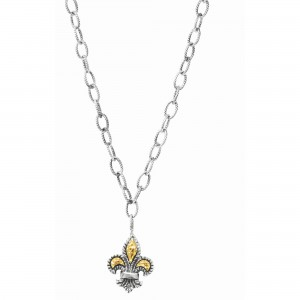 Silver And 18Kt Gold Fleur De Lis Pendant On 20In Chain