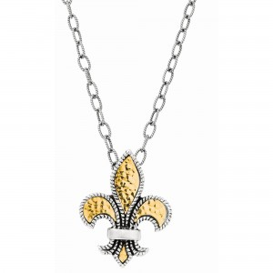 Silver And 18Kt Gold Large Fleur De Lis Pendant