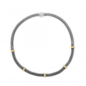 Silver Flat Woven Necklace With Five Stations Of 18Kt Gold