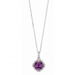 Silver And 18Kt Gold Gem Candy Cushion Amethyst And Diamonds Pendant With Woven F Inish On 18 In Cha In