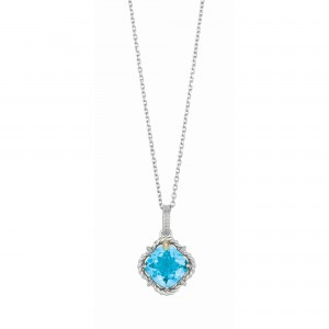 Silver And 18Kt Gold Gem Candy Cushion Blue Topaz And Diamonds Pendant With Woven F Inish On 18 In Cha In