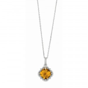 Silver And 18Kt Gold Gem Candy Cushion Whisky Quartz And Diamonds Pendant With Woven F Inish On 18 In Cha In