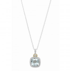Silver And 18Kt Gold Popcorn Pendant With Large Square Cushion Blue Topaz And Diamonds On 18In Chain