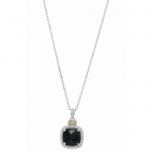 Silver And 18Kt Gold Popcorn Pendant With Large Square Cushion Black Onyx And Diamonds On 18In Chain