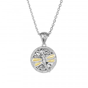 Silver And 18Kt Gold 14Mm Round Dragonfly Pendant With White Sapphires On 18In Chain