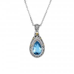 Silver And 18Kt Gold Teardrop Filigree Pendant With Blue Topaz And White Sapphires On 18In Chain