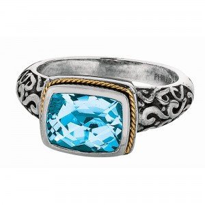 Silver And 18Kt Gold Square Byzantine Ring With Blue Topaz