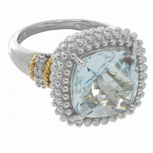 Silver And 18Kt Gold Popcorn Ring With Large Square Cushion Blue Topaz And Diamonds