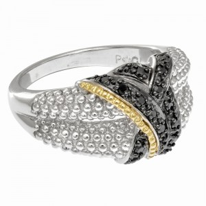 Silver And 18Kt Gold Textured Graduated Popcorn Ring With Black Diamonds