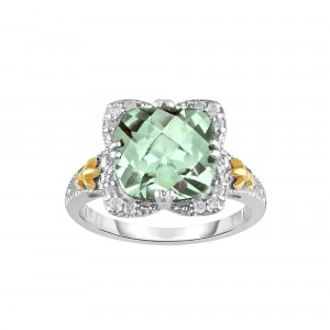 Silver And 18Kt Gold Gem Candy Square Ring With Green Amethyst And Diamonds