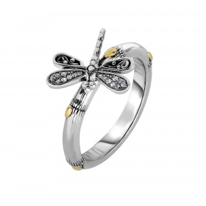 Silver And 18Kt Gold Bamboo Textured Dragonfly Ring With White Sapphires