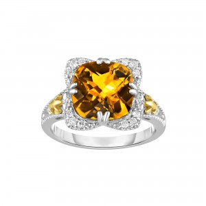 Silver And 18Kt Gold Gem Candy Square Ring With Cushion Citr Ine And Diamonds