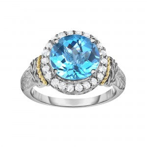 Silver And 18Kt Gold Graduated Graduated Woven Ring With Light Swiss Blue Topaz And White Sapphire