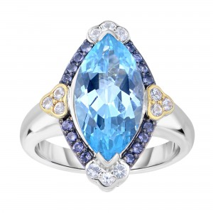 Silver And 18Kt Gold Gem Candy Marquis Ring With Blue Topaz, Iolite And White Sapphire