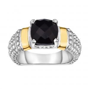 Silver And 18Kt Gold Popcorn Ring With Cushion Black Onyx