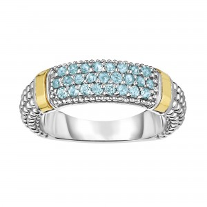 Silver And 18Kt Gold Popcorn Ring With Blue Topaz