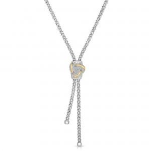 Sterling Silver And 18K Gold Popcorn Love Knot Lariat