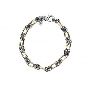 Sterling Silver And 18K Gold Oval & Knot Antique Link Bracelet