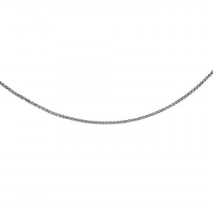 Silver 24In With Rhodium Finish Diamond Cut Wheat Necklace With Lobster Clasp