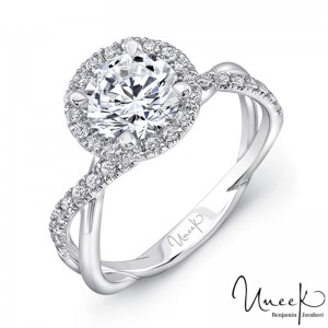 Uneek Round Diamond Halo Engagement Ring with Infinity-Style Crisscross Shank, in 14K White Gold