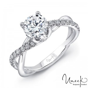 Uneek Round Diamond Engagement Ring with Infinity-Style Crisscross Shank and Two Bezel-Set