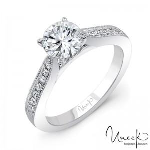 Uneek Round Engagement Ring, in 14K White Gold