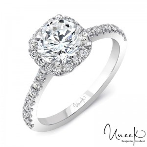 Uneek Round Engagement Ring, in 14K White Gold