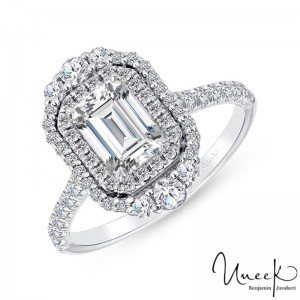 Uneek Emerald Cut Diamond Engagement Ring, in 14K White Gold