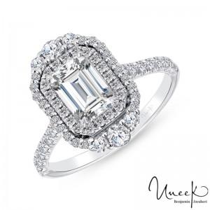 Uneek Emerald Cut Diamond Engagement Ring, in 14K White Gold