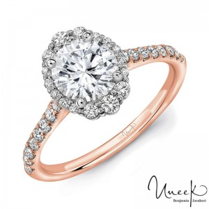 Uneek Round Diamond Engagement Ring, in 14K Rose Gold