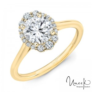 14K Yellow Gold .15Ct Oval Halo For Rd