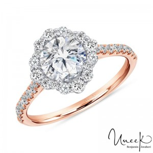 Uneek Petals Design Round Diamond Engagement Ring with Pave Diamond Shank in 14K White Gold - SWS234DSW-6.5RD