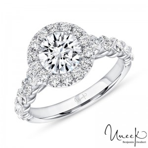 Uneek Round Diamond Engagement Ring, in 14K White Gold