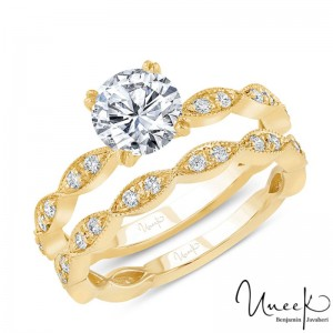 Uneek Round Diamond Bridal Set with Milgrain-Trimmed Marquise-Shaped Clusters, in 14K Yellow Gold