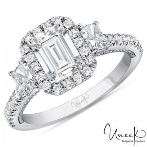 Uneek Radiant Diamond Engagement Ring, in 14K White Gold