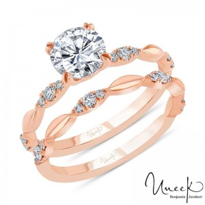 Uneek Round Diamond Bridal Set with Navette-Shaped Cluster Accents, in 14K Rose Gold