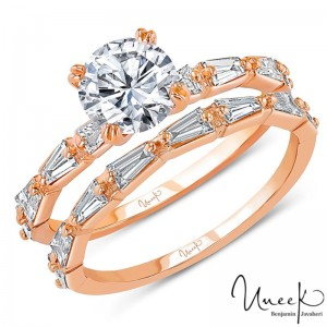 Uneek Round Diamond Bridal Set with Tapered Baguette Diamond Accents, in 14K Rose Gold