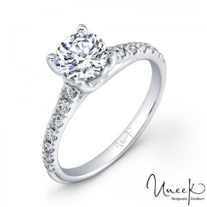 Uneek Round Diamond No-Halo Engagement Ring with Graduated Melee Diamonds U-Pave Set on Upper Shank, in 14K White Gold