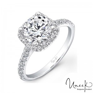 Uneek Contemporary Round-Diamond-on-Cushion-Halo Engagement Ring with U-Pave Upper Shank, in 14K White Gold