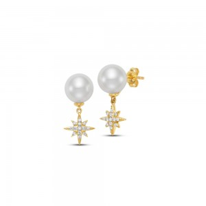 Mastoloni 18K YG 8.5-9MM FW PEARL DROP EARRING WITH .18CTW